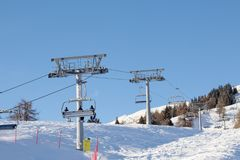 ISELSBERG, AUSTRIA, 23 January 2018: Ski Lift at Mountain ski resort in Winter. 2018 Royalty Free Stock Image