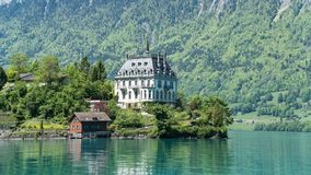 Scenary from Swiss town of Iseltwald with lake Brienz near Interlaken stock image