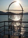Iseo, Brescia, Italia La copia de un bastidor tradicional de los pescados secaba pescados fotos de archivo libres de regalías
