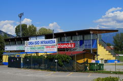 Soccer stadium of Iseo stock images