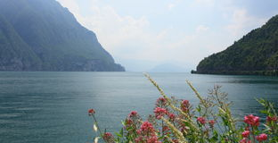 Iseo lake. View on Iseo lake and mountain in the distance Royalty Free Stock Image