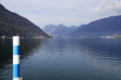 Iseo Lake in autumn, seen from Sulzano. Sulzano is a comune in the province of Brescia, in Lombardy. It is situated on the east shore of Lake Iseo. Lago d`Iseo royalty free stock images