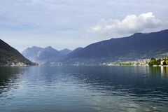 Iseo Lake in autumn, seen from Sulzano. Sulzano is a comune in the province of Brescia, in Lombardy. It is situated on the east shore of Lake Iseo. Lago d`Iseo royalty free stock photography