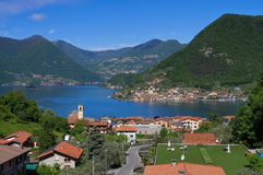 Iseo lake and island Monte Isola in Alps, Lombardy Royalty Free Stock Photos