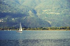 ISEO LAKE, ITALY, 20 OCTOBER, 2018: Yachting on Iseo Lake, near to Lovere town royalty free stock images