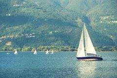 ISEO LAKE, ITALY, 20 OCTOBER, 2018: Yachting on Iseo Lake, near to Lovere town stock images