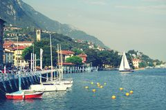 ISEO LAKE, ITALY, 20 OCTOBER, 2018: Yachting on Iseo Lake, near to Lovere town royalty free stock photo