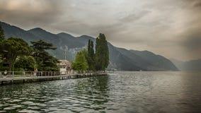 Iseo Lake Italy. Beautiful Sundown stock photography