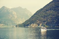 ISEO LAKE, ITALY, 20 OCTOBER, 2018: Touristic ship on Iseo Lake. Lago d`Iseo or Sebino is the fourth largest lake in Lombardy, Italy, fed by the Oglio river. It royalty free stock images