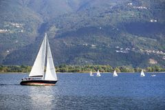 ISEO LAKE, ITALY, 20 OCTOBER, 2018: Yachting on Iseo Lake, near to Lovere town stock photography