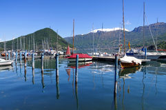 Iseo lake Marina in Alps Royalty Free Stock Images