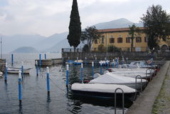Iseo Lake. With mountain and ferryboat Stock Photography