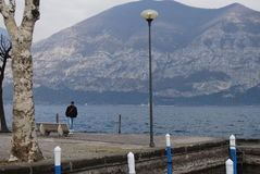 Iseo Lake. With mountain and ferryboat Stock Image
