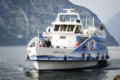 Iseo. Ship arriving Stock Image