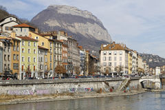 Isere river banks in Grenoble Royalty Free Stock Images