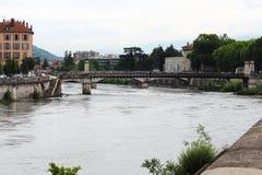 Isere River and Pont de St Laurent, Grenoble, France stock photos