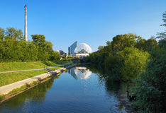 Iset River, TV Tower and Circus in Yekaterinburg Royalty Free Stock Photography
