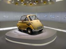 Isetta. In the BMW museum in Munich, one room is dedicated to the little Isetta that the carmaker built in the 60s on the Iso projects Royalty Free Stock Images