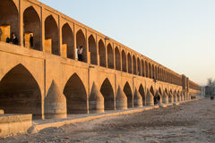 Historical bridge. Isfahan siosepol bridge on dried Zayandehrood river Royalty Free Stock Photography