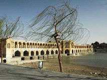 Isfahan bridge. Windy day stock photography