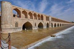 Si-o-se Pol bridge over Zayandeh River, Isfahan, Iran. stock photos