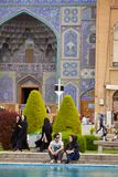 Young Iranian couple on a date near mosque, Isfahan, Iran. Stock Images