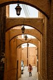 Arches on the streets from sandstone in traditional Persian style stock photography