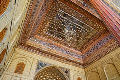Chehel Sotoun ceiling. ISFAHAN, IRAN - MAY 8, 2015: Beautiful ceiling mirrors in the Chehel Sotoun palace for entertainment and receptions stock image