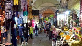 Grand bazaar of Isfahan with tourists and people shopping, Isfahan, Iran stock video
