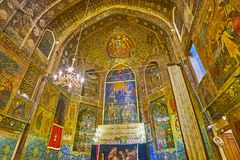 In Bethlehem Church of Isfahan, Iran. ISFAHAN, IRAN - OCTOBER 20,2017: The  Armenian Orthodox Bethlehem Church in New Julfa is one of the notable city landmarks Royalty Free Stock Image