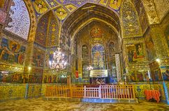 The altar of Bethlehem church in Isfahan, Iran. ISFAHAN, IRAN - OCTOBER 20,2017: The  beautiful altar of Armenian Orthodox Bethlehem Church in New Julfa with Stock Photo