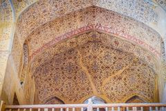 Floral pattern painting on the wall and ceiling of Ali Qapu palace. Iran. Isfahan, Iran. October 30, 2016 : Beautiful floral pattern painting on the wall and stock image