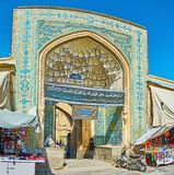 The entrance portal of Jameh Mosque, Isfahan, Iran royalty free stock image