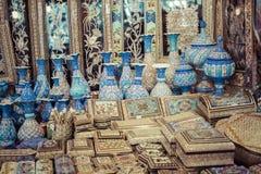 ISFAHAN IRAN, PAŹDZIERNIK, - 06, 2016: Tradycyjni irańczyka rynku półdupki Obraz Stock