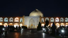 Sheikh Lotfollah Mosque by night, Isfahan, Iran stock footage