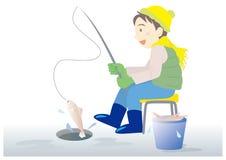 Isfiskeman - utomhus- fritidbild i vinter stock illustrationer