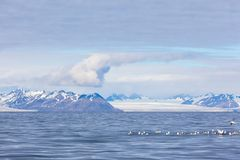 Isfjord in Svalbard in Spitsbergen. Beautiful bay on the background of snowy mountains stock image