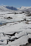 Isflak på sjön, landskap i Norge Royaltyfria Bilder