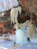 Isgrottor på Lake Superior Arkivfoto