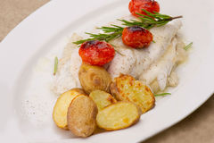Ish fillet in sauce and vegetables Royalty Free Stock Photography