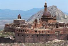Ishak Pasa Sarayi Turkey. Located in the Doğubeyazıt district of Ağrı province of eastern Turkey. The Ishak Pasha palace which is a Kurdish palace of royalty free stock photography