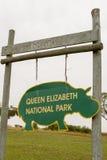 Ishasha okręg, królowej Elizabeth park narodowy, Uganda znak Fotografia Stock