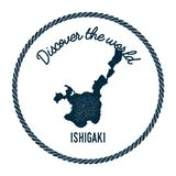 Ishigaki map in vintage discover the world. Ishigaki map in vintage discover the world insignia. Hipster style nautical postage stamp, with round rope border Stock Photos