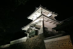 Ishikawa gate of Kanazawa. Castle (night scene royalty free stock photos