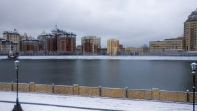 Ishim flod i vintermorgon royaltyfri fotografi