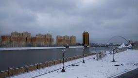 Ishim flod i vintermorgon arkivbilder