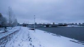 Ishim flod i vintermorgon royaltyfri foto