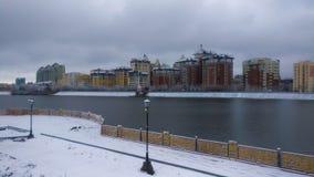 Ishim-Fluss am Wintermorgen Lizenzfreie Stockfotos