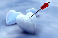 Ishjärtor som trängas igenom av pilen Fotografering för Bildbyråer