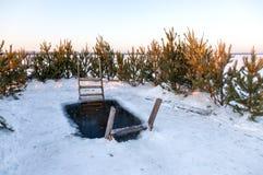 Ishål för vintersimning på floden Royaltyfri Fotografi